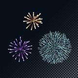 Ejemplo colorido de los fuegos artificiales del vector concepto para la plantilla para la celebración en Año Nuevo y la Navidad f ilustración del vector