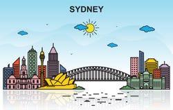 Ejemplo colorido de Sydney City Tour Cityscape Skyline stock de ilustración