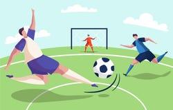 Ejemplo colorido de un partido de fútbol del fútbol ilustración del vector