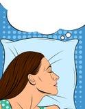 Ejemplo colorido de una mujer durmiente en estilo cómico del arte Fotos de archivo