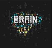 Ejemplo colorido del cerebro del vector, pintura handdrawn del cerebro, dibujo del concepto de la mente imagen de archivo libre de regalías