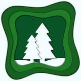 Ejemplo colorido del corte del papel del vector del papel a del bosque del invierno libre illustration
