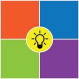 Ejemplo colorido del diseño del fondo de la idea de la bombilla Foto de archivo libre de regalías
