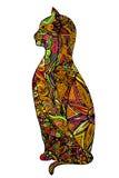 Ejemplo colorido del gato del esquema abstracto del garabato Imagen de archivo