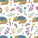 Ejemplo colorido del modelo inconsútil con las flores y los gatos hermosos Estilo escandinavo Arte popular Fotos de archivo