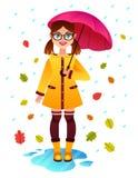 Ejemplo colorido del otoño del vector del día lluvioso Fotografía de archivo