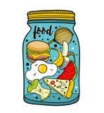 Ejemplo colorido del tarro de la comida aislado en el fondo blanco Imágenes de archivo libres de regalías