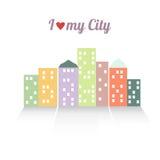 Ejemplo colorido del vector de la ciudad Imagen de archivo