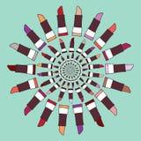 Ejemplo colorido del vector de la etiqueta del lápiz labial Foto de archivo