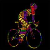 Ejemplo colorido del vector de la nube de la palabra de la tipografía de la bicicleta Imágenes de archivo libres de regalías