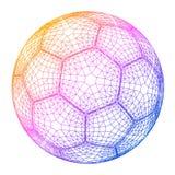 Ejemplo colorido del vector de la rejilla del wireframe del balón de fútbol Foto de archivo libre de regalías