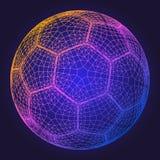 Ejemplo colorido del vector de la rejilla del wireframe del balón de fútbol Imágenes de archivo libres de regalías