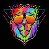 Ejemplo colorido del vector de las lentes del león stock de ilustración