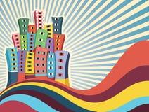 Ejemplo colorido del vector de los edificios Fotografía de archivo