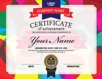 Ejemplo colorido del vector del diseño de la plantilla del diploma del certificado Foto de archivo libre de regalías