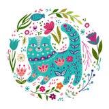 Ejemplo colorido del vector determinado de la gente con el gato y las flores hermosos Estilo escandinavo Foto de archivo libre de regalías