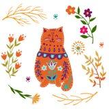 Ejemplo colorido del vector determinado de la gente con el gato y las flores hermosos Estilo escandinavo Fotografía de archivo