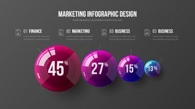 Ejemplo colorido infographic de las bolas del vector 3D de la presentación del elemento asombroso del negocio 4 stock de ilustración