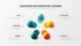 ejemplo colorido infographic de 5 de los pasos del negocio bolas del vector 3D Plantilla gráfica de la visualización de la inform libre illustration