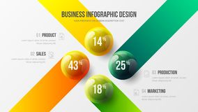 ejemplo colorido infographic de 4 de opción del negocio de la presentación bolas del vector 3D stock de ilustración
