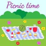 Ejemplo colorido que ofrece una disposición de la comida campestre Fotos de archivo libres de regalías