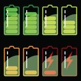 Ejemplo común del vector: Iconos de la batería Foto de archivo libre de regalías