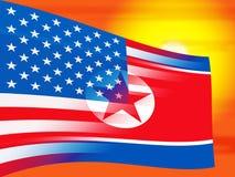 Ejemplo comercial de la amenaza 3d de Corea del Norte y de Estados Unidos libre illustration