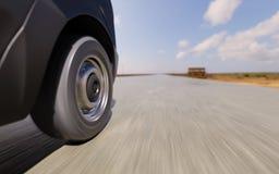 Ejemplo comercial de Van Wheel Closeup Motion Blurred 3d Imagen de archivo libre de regalías