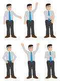Ejemplo completo del vector de los iconos del color de los hombres de negocios del cuerpo Fotografía de archivo libre de regalías