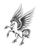 Ejemplo con alas del grabado del caballo ilustración del vector