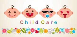Ejemplo con diversas emociones de los bebés, diseño plano del vector del cuidado de niños del estilo del vector ilustración del vector