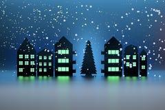 Ejemplo con el árbol de navidad, la nieve que cae y casas con las ventanas iluminadas libre illustration