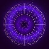 Ejemplo con el círculo del horóscopo y constelaciones del zodiaco en el fondo estrellado del cielo nocturno con el modelo de la g stock de ilustración