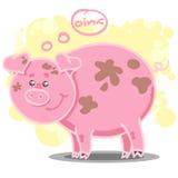 Ejemplo con el cerdo lindo de la historieta Stock de ilustración