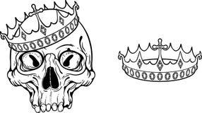 Ejemplo con el cráneo y la corona Imagen de archivo libre de regalías