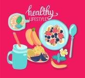 Ejemplo con el cuenco y los fres sanos del granola del cereal de desayuno stock de ilustración