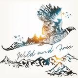 Ejemplo con el pájaro y las montañas salvajes del bosque, Imágenes de archivo libres de regalías