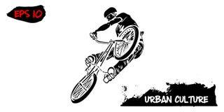 Ejemplo con el representante de la cultura urbana Jinete de BMX en un salto aislado en el fondo blanco Impresión moderna del tema ilustración del vector