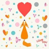 Ejemplo con el zorro geométrico, las flores y los corazones de la historieta divertida para el uso en el diseño para la tarjeta d Foto de archivo libre de regalías