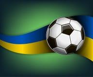 Ejemplo con la bola del fútbol o del soccet y la bandera de Ucrania libre illustration