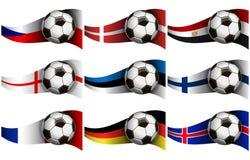 Ejemplo con la bola y las banderas de fútbol ilustración del vector