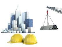 Ejemplo con la construcción y las grúas de viviendas