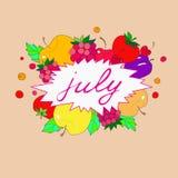 Ejemplo con la imagen de las etiquetas de julio en el marco de frutas Imágenes de archivo libres de regalías