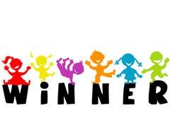 Ejemplo con la palabra GANADOR y siluetas felices de los niños Foto de archivo