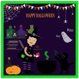 Ejemplo con la pequeña bruja linda libre illustration