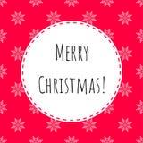 Ejemplo con las Felices Navidad del texto 'y fondo rojo con los copos de nieve cosidos cruzados blancos ilustración del vector