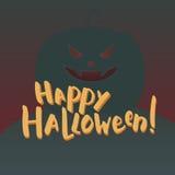 Ejemplo con las letras del cepillo Feliz Halloween a mano de las palabras y calabaza asustadiza en fondo Fotografía de archivo libre de regalías