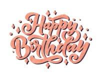 Ejemplo con las letras del feliz cumpleaños para el diseño de la decoración Tarjeta de la enhorabuena imagen de archivo libre de regalías