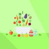Ejemplo con las verduras y coooking Fotos de archivo libres de regalías