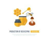 Ejemplo con los iconos de la apicultura de los productos Fotografía de archivo libre de regalías